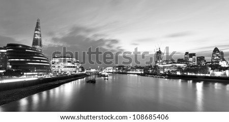 Monochrome night shot of the city of London - stock photo