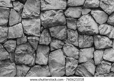 Monochrome Big Stone Rock Wall Texture Stock Photo 760621018