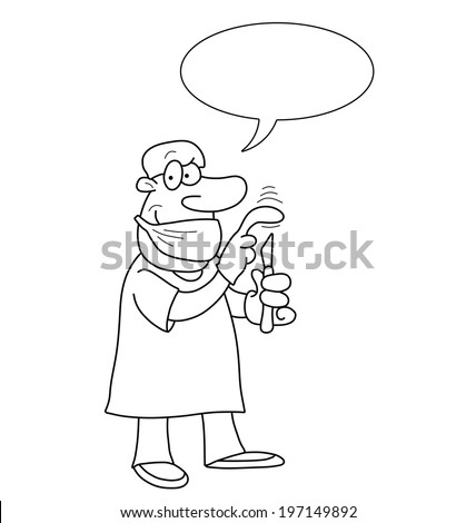 Monochrome outline cartoon doctor with speech bubble for own text isolated on white background - stock photo