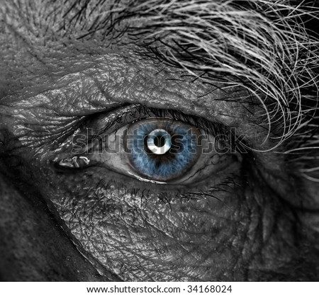 Monochrome picture of a human eye - stock photo