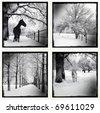 Monochrome picture of a winter set - stock photo