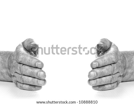 Monochrome picture of old hands isolated on white background - stock photo