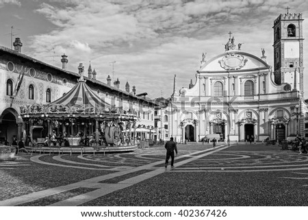 Monochrome picture of the Ducal Square - Vigevano
