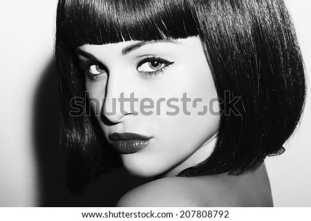 monochrome portrait of Beautiful Brunette Girl. Healthy Black Hair. bob Haircut.beauty woman. black and white art - stock photo