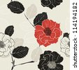 Monochrome Seamless Hand-Drawn Floral Pattern with red flower - stock photo
