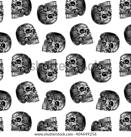 Monochrome seamless Skull Dots Pattern. Black skulls on White background. - stock photo