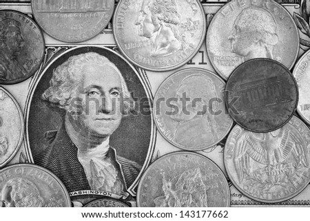 monochrome shot of American dollar money background for business