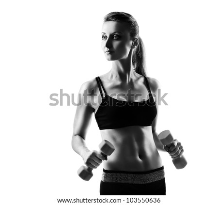 Monochrome silhouette  of a fitness model on white background
