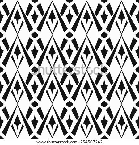 monochrome vintage seamless pattern (raster version) - stock photo