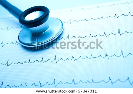 Monocrome Pulse Trace and Stethoscope with copy space - stock photo