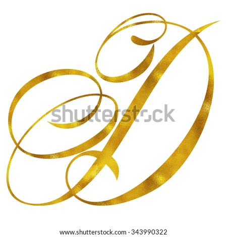 Monogram D Gold Faux Foil Monograms Metallic Initials Isolated White Background - stock photo