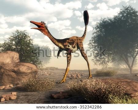 Mononykus dinosaur walking in the desert next to tamaris trees - 3D render - stock photo