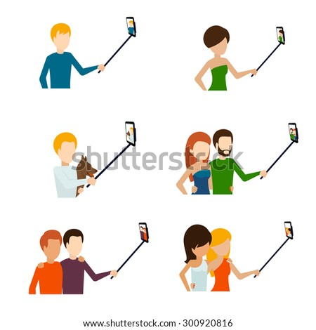 Monopod selfie flat icons set. Telephone and photograph, camera and phone - stock photo