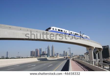 Monorail at the Palm Jumeirah, Dubai United Arab Emirates - stock photo