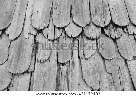 Monotone Gray Texture of old shingle Roof, top view - stock photo
