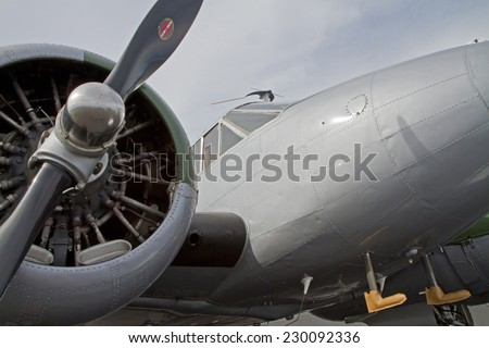 MONROE, NC - NOVEMBER 8, 2014:  A C-45 Expeditor Aircraft on Display at the Warbirds Over Monroe Air Show in Monroe, NC.  - stock photo