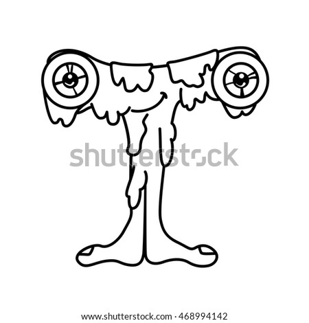 Monster Alphabet Coloring Pages Letter T Stock Vector 420838153 Coloring Pages Letter T