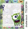 Monster card green, raster - stock photo