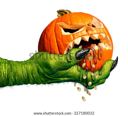 Monster hand holding a creepy pumpkin head jack o lantern that is dripping eerie liquid as a halloween symbol for horror and weird seasonal ritual on a white background. - stock photo