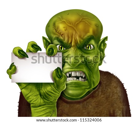 Zombie Holding Sign Ugly Monster Stock Ima...