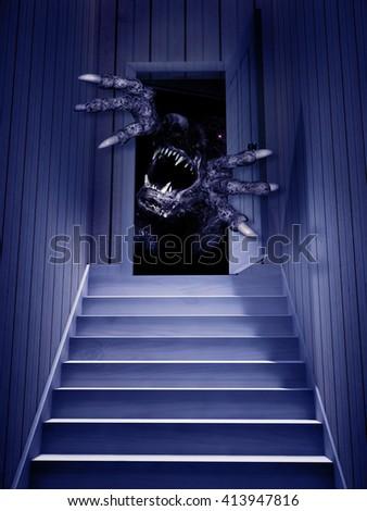 Monster in open door. 3d render - stock photo