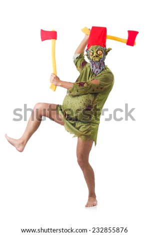 Monster man with axes isolated on white - stock photo