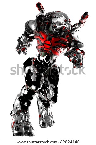 monster robot running - stock photo