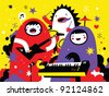 Monster rock band playing funky music - raster illustration - stock vector