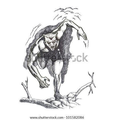 MONSTER RUNNING - a superhero. Picture on the classic comix theme. (Original cartoon figure - drawn with black marker.) - stock photo