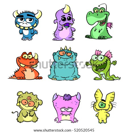 monster set different cute cartoon creatures stock illustration