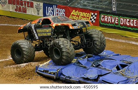 monster truck jumping cars - stock photo