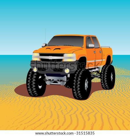 monster truck on the beach - stock photo