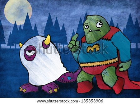 Monsters out trick or treating for Halloween. Cute big guy and little ghost friend.