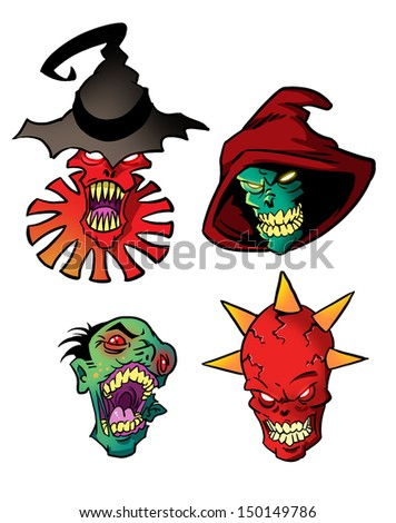 Monsters set - stock photo
