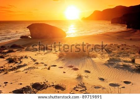 Monsul beach, Cabo de Gata natural park, AlmerIa, Spain - stock photo