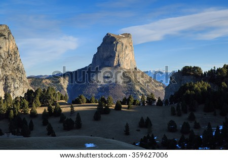 Mont Aiguille in the French Vercors in december. - stock photo