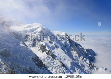 Mont Blanc, Chamonix. Tops of the mountains. View above clouds.