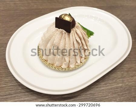 Mont Blanc dessert sweet cake - stock photo