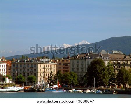 Mont Blanc in Geneva Switzerland - stock photo