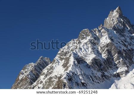 Mont Blanc in winter , Italian Alps. Italy - stock photo