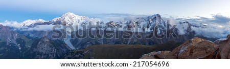 Mont Blanc Massif Panorama from Testa di Liconi, Graian Alps, Italy - stock photo