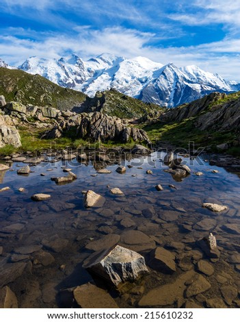 Mont Blanc Massif Reflections, Graian Alps, France - stock photo