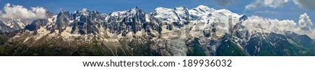 Mont Blanc panorama from Brevent - stock photo