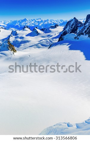 Mont Blanc, view from Aiguille du Midi - stock photo