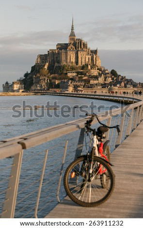 Mont Saint Michel in early morning hours - stock photo
