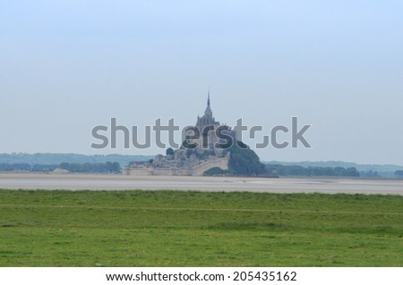 Mont Saint Michel island commune with Abbey and fortifications in Normandy France