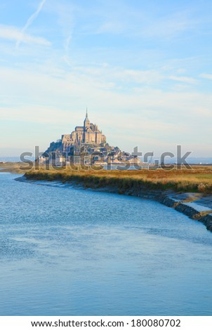 Mont Saint Michel, second most visited place in France. - stock photo