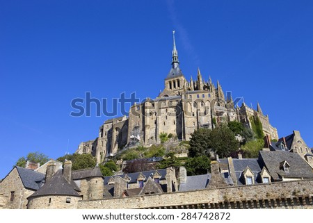 mont saint michel view, in the north of france - stock photo