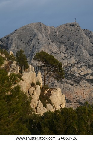 Mont Sainte Victoire in Provence, France. - stock photo