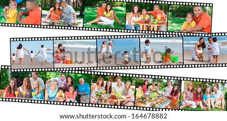 Montage happy multiethnic mixed race families couples parents children men women boys girls enjoying healthy active lifestyle holiday vacation beach playing games garden, cycling, eating healthy food - stock photo